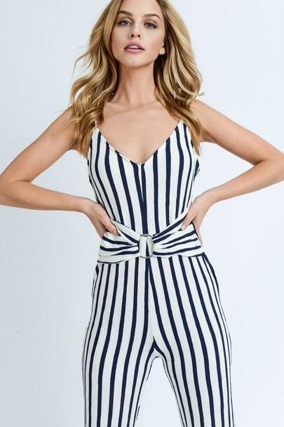 Belted Striped Jumpsuit