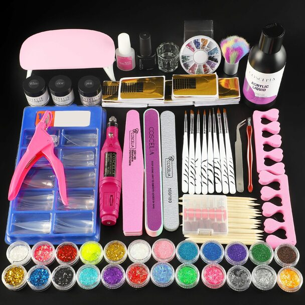 Acrylic Nail Kit Manicure Set For Nail All For Manicure Tools Acrylic Powder Liquid Brush With Drill Machine Lamp Set