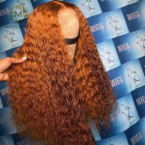Orange Human Hair Wig Ginger Colored Human Hair Wigs Curly Deep T Part Lace Front Human Hair Wigs Brazilian Preplucked Lace Wig