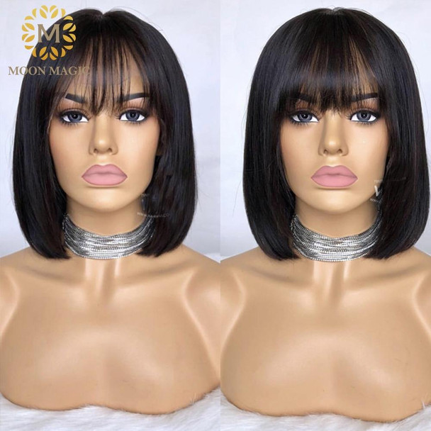 Wig With Bangs Red Bob Lace Front Wigs 13x4 Lace Front Human Hair Wigs Full Lace Short Human Hair Wigs Colored