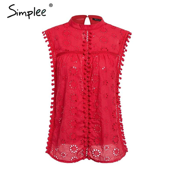 Cotton embroidery red top