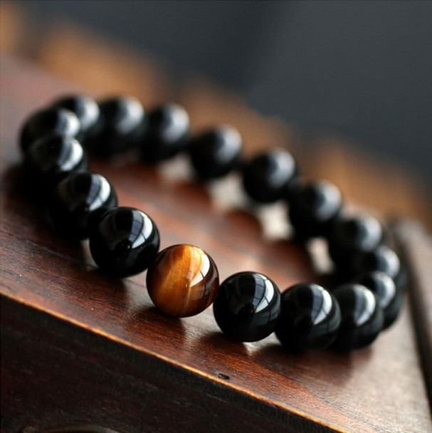 Natural Black Onyx with Tiger eye Stone Beads Men Jewelry