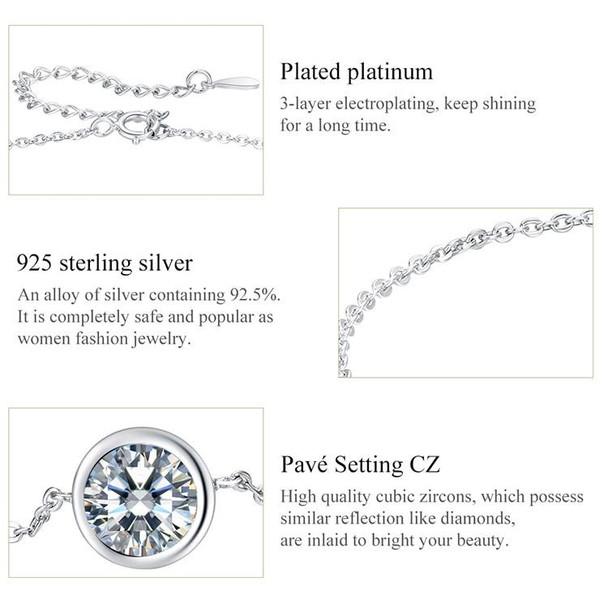 Real 925 Sterling Silver Bracelets With Round Zircon Link Chain For Women