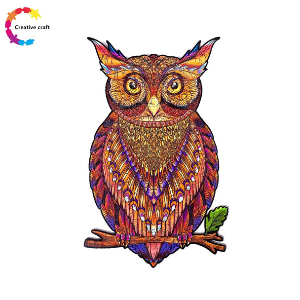 Wooden Jigsaw Puzzle Charming Male owl