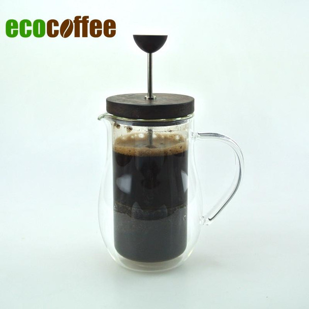 High Quality Double Glazing 350Ml Coffee French Press Wood Cover Coffee Plunger Coffee Maker