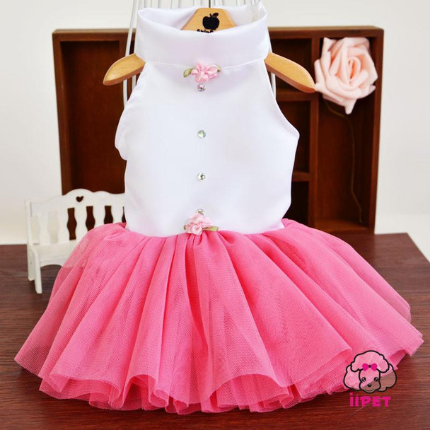 Elegant&Luxury Dog Dresses Pink Summer Small Dog Tutu Dress Cute Pet Clothes Dog Skirt with 3D Rose S-XL Free Shipping