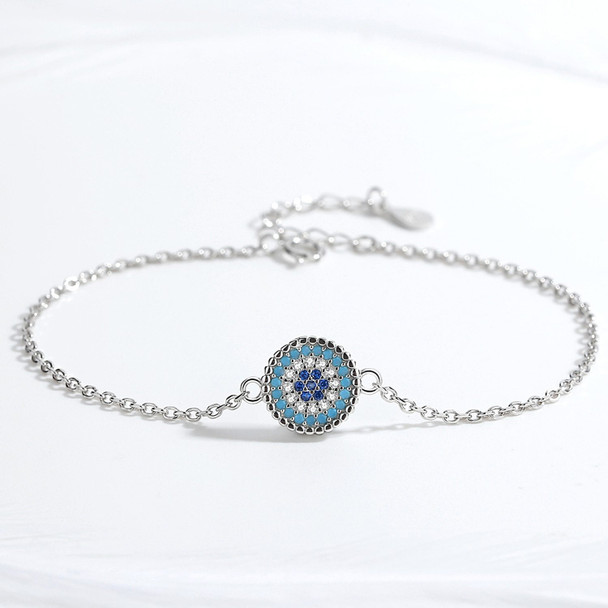 Evil Eye Blue Cubic Zirconia 925 Sterling Silver Necklace, Tennis Bracelet, and Ring Jewelry Set