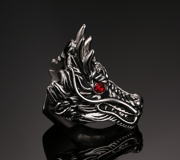 Dragon Head Red Cubic Zirconia Stainless Steel Ring