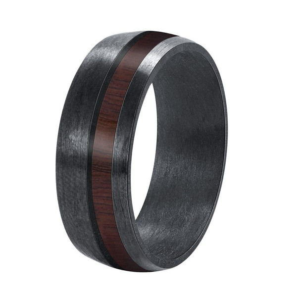 8mm Men Black Carbon Fiber Ring with Wood Inlay Comfort Fit Wedding Band