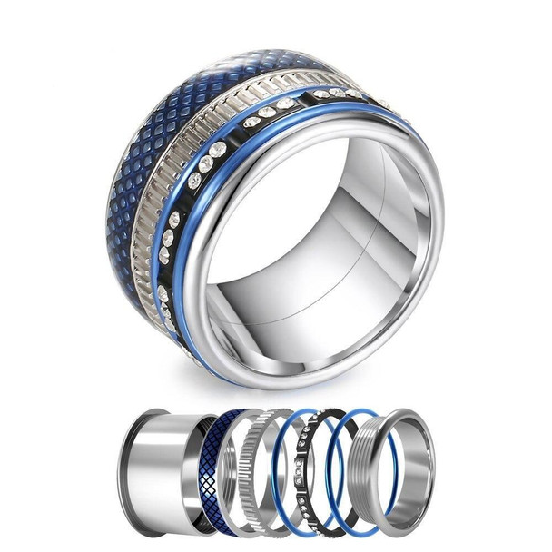 Women Stainless Steel, Aluminum, and Stackable, Rotatable, and Interchangeable Blue Ring