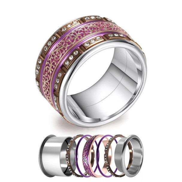 Women Stainless Steel, Aluminum, Stackable, Rotatable, and Interchangeable Ring