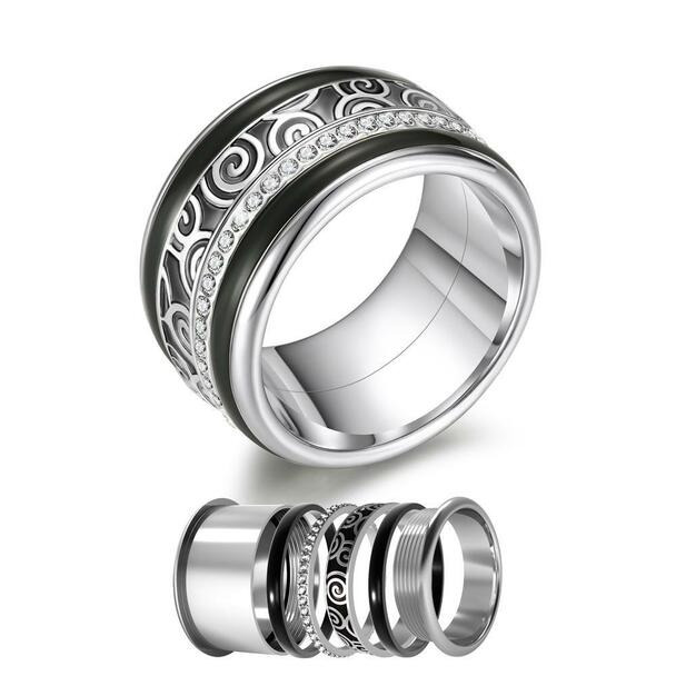 Women Stainless Steel, Aluminum, and Stackable, Rotatable, and Interchangeable Black Wedding Band