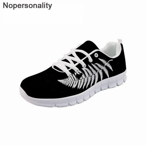 Black Men New Zealand Silver Fern Prints Casual Breathable Sneakers