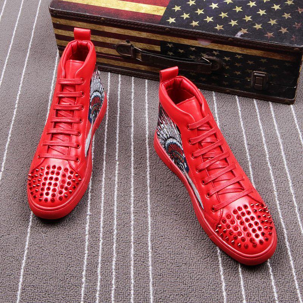 Men Firework Embroidery High Top Rivet Ankle Sequins Sneakers