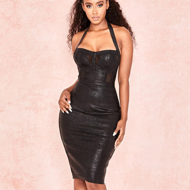 High Quality Sleeveless Sequin Celebrity Party Hollow Out Black Bandage Dress