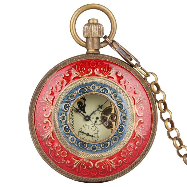 Red Carving Automatic Mechanical Pocket Watch