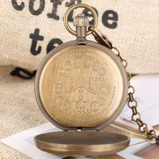 Retro Carved Elegant Flowers Design Pure Copper Sun Phase Automatic Mechanical Pocket Watch
