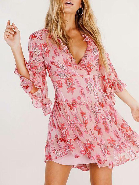 Printed Straps Backless Sexy Deep V-Neck Ruffled Dress