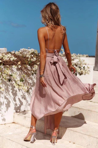 Sexy Hanging Neck Wrapped Chest Holiday Beach Dress