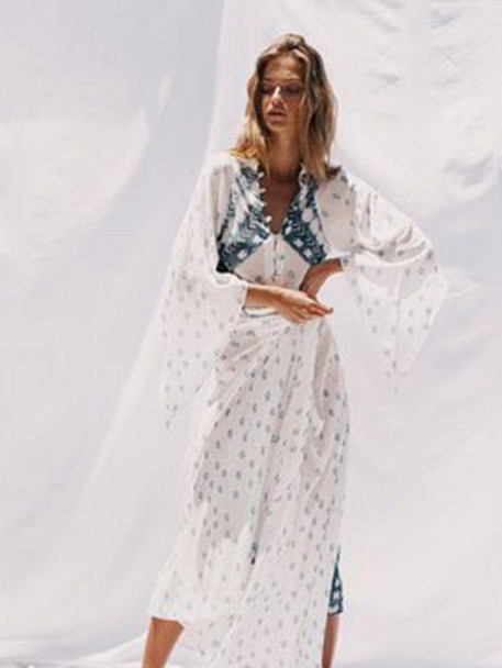 Spring and Summer Print Bohemian V-Neck Cropped Sleeves Holiday Dress