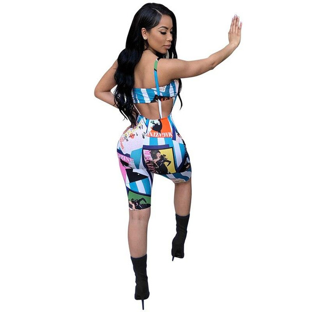 Fashion Cartoon Stripe Print Women Tracksuits Sexy Strapless Crop Top Knee Length Suspender Trousers Club Two Piece Set
