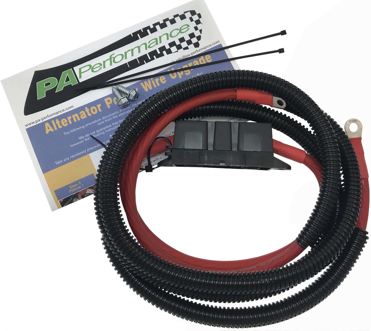 This is a complete kit to upgrade the main power feed wire from the alternator to the vehicle on most Fords