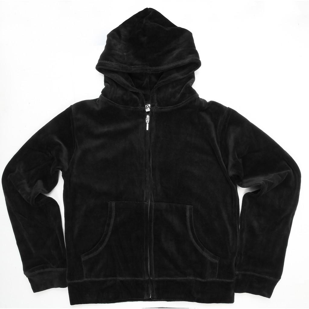 Black Hooded Velour's with Pocket
