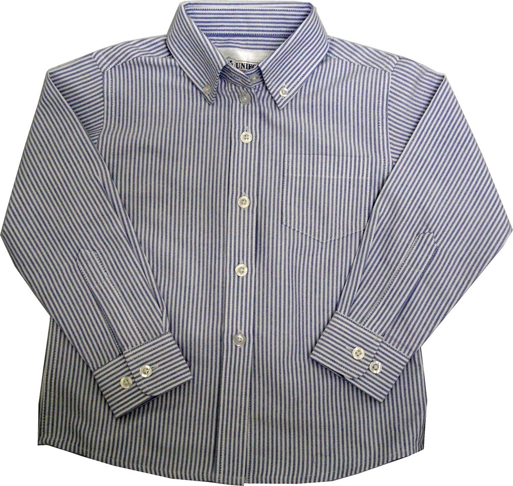 Girls Oxford Striped Blouse Blue/White