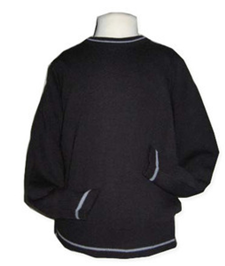Sweater Crewneck Pullover   Long Sleeves   Navy W/Grey Trim
