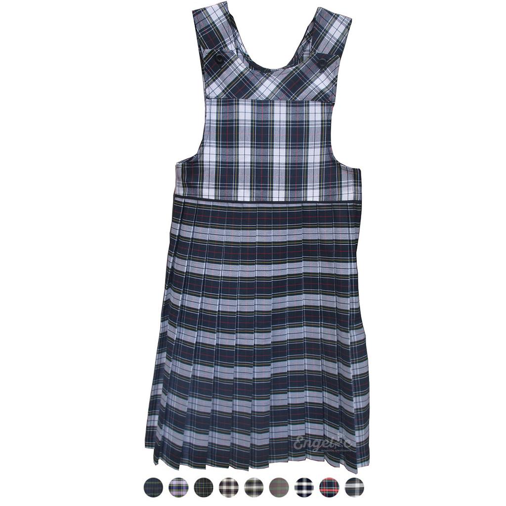 Girls School Uniform Bib Top Plaid Pleated Jumper