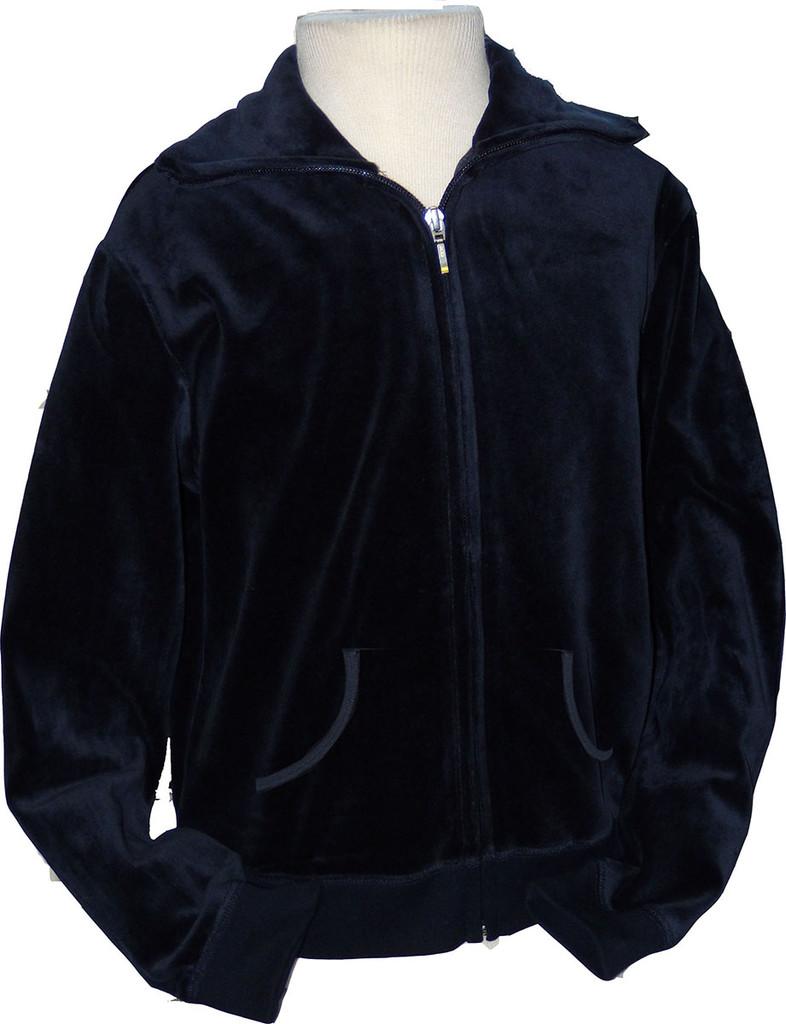 Velour Zip-Up With Collar & Kangaroo Pockets Navy