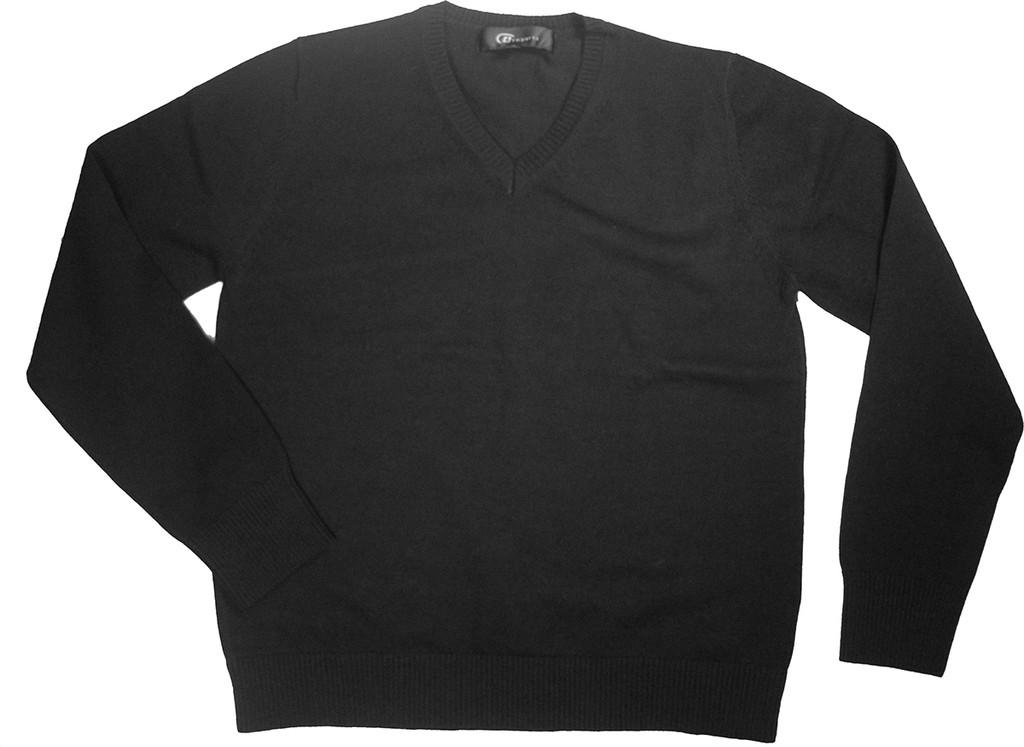 Girls Sweater V-Neck Pullover Long Sleeves Black 100% Cotton