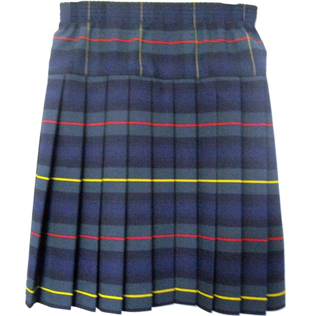 Girls School Uniform Yoke Pleated Plaid Skirt