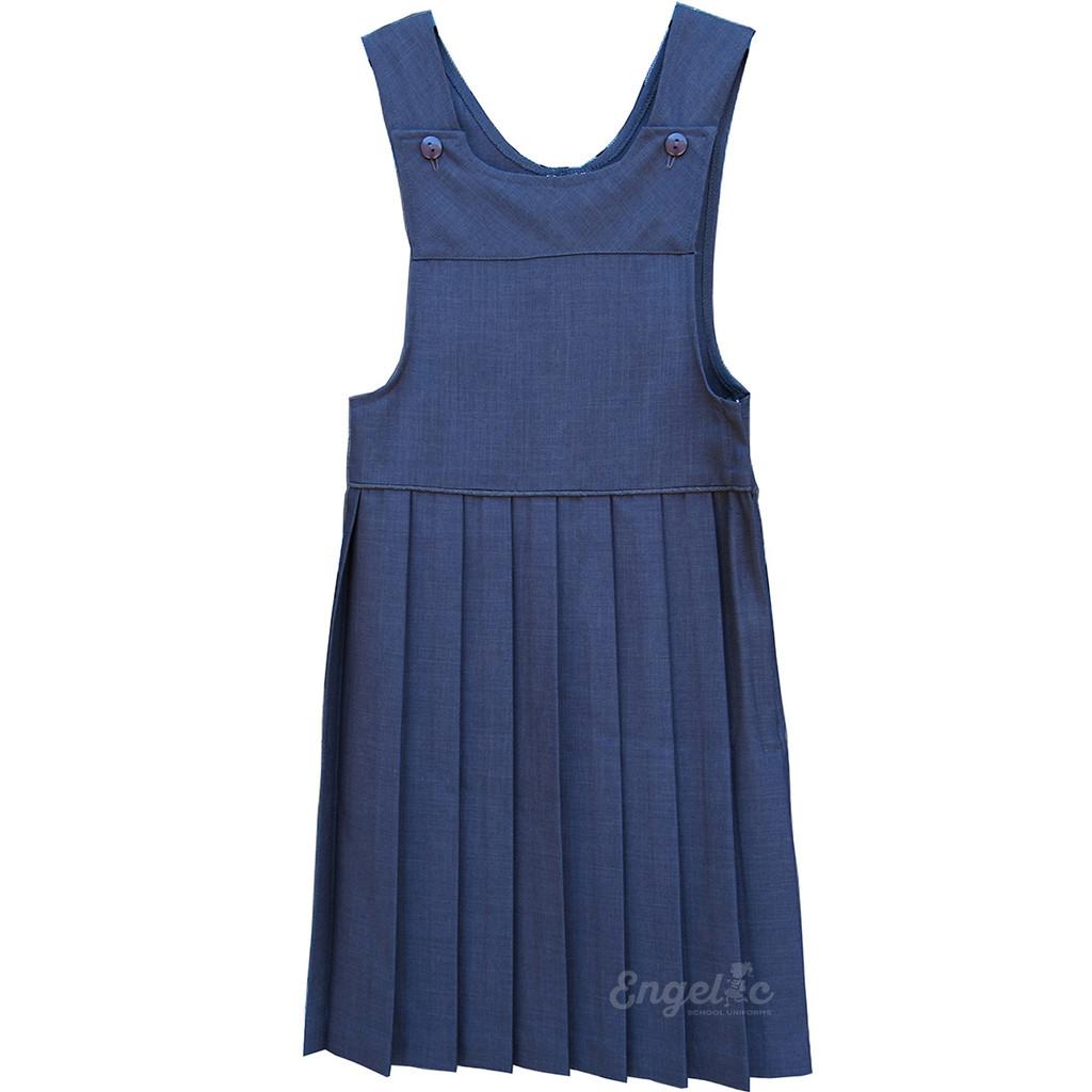 Girls School Uniform Pleated Two Strap Jumper Grey  6-10