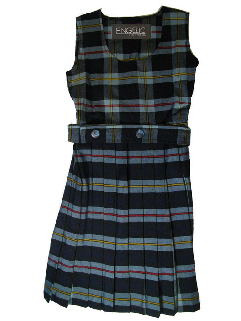 Girls School Uniform Scoop Neck Plaid Pleated Jumper w/Belt (Plaid Z )