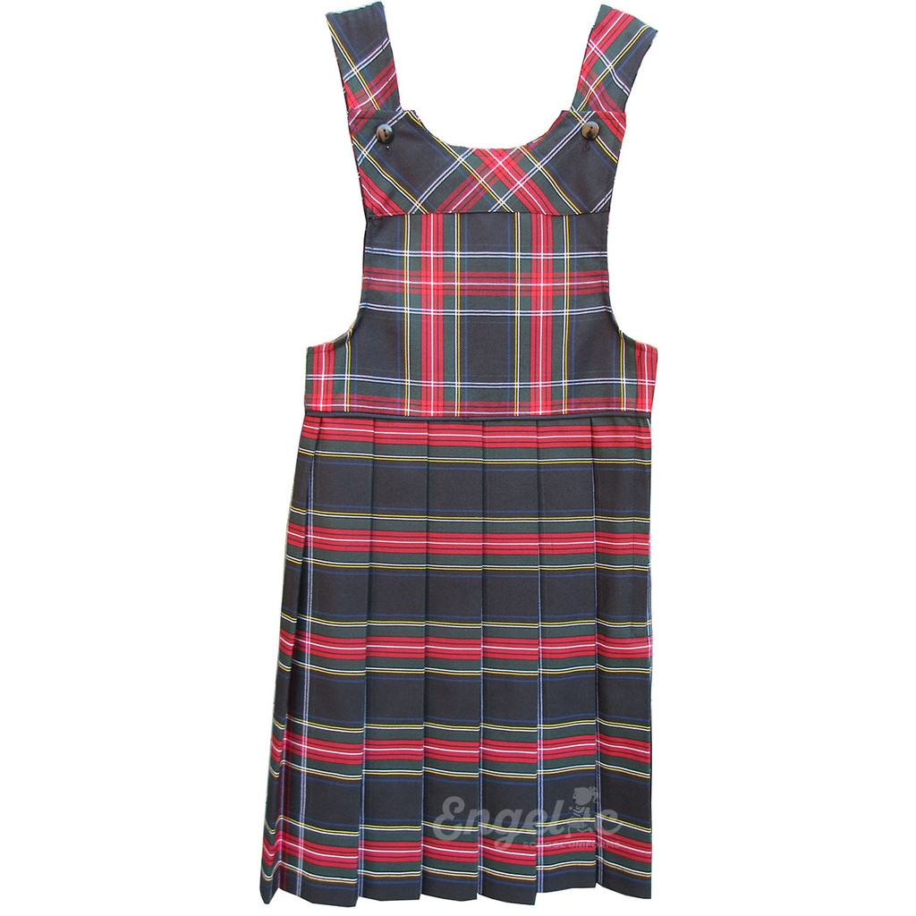 Bib Top Pleated Jumper with Piping   Plaid T