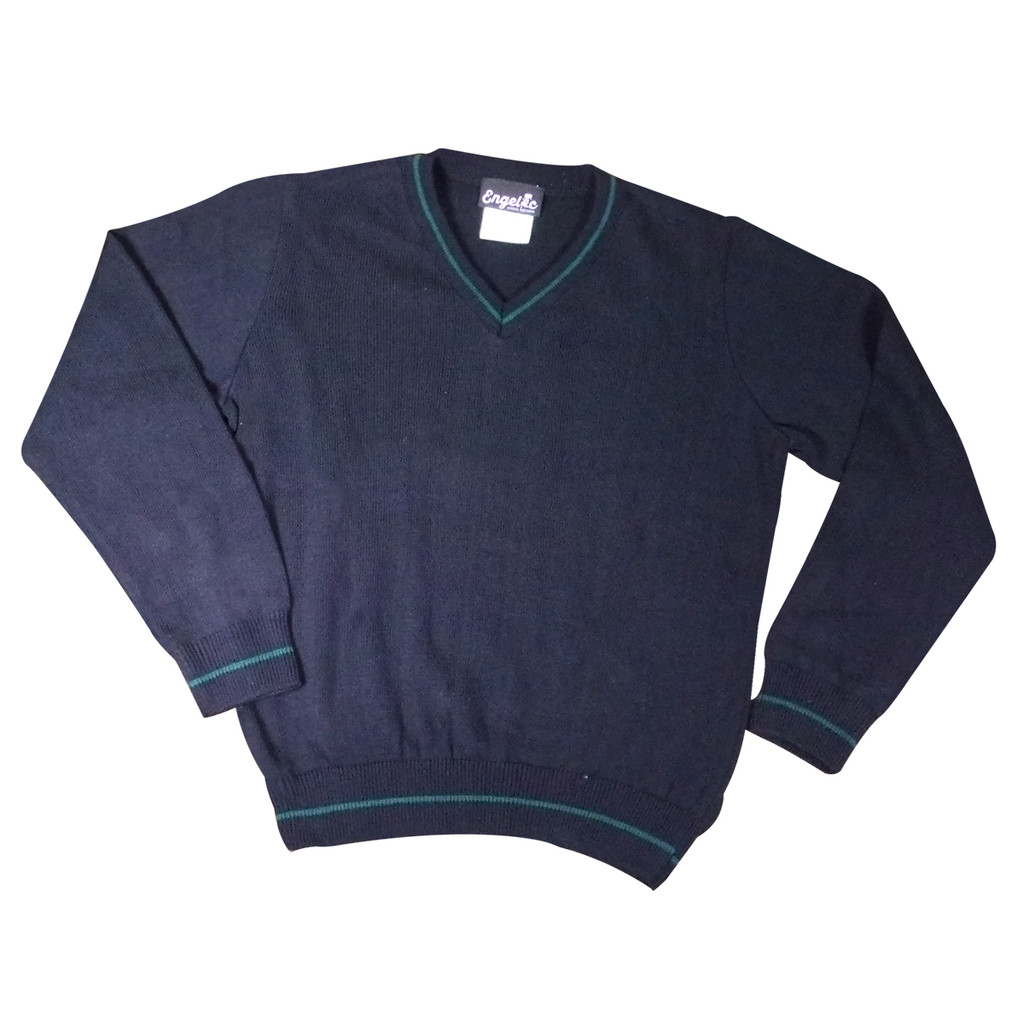 SWEATER V-NECK PULLOVER LONG SLEEVES NAVY  W/GREEN TRIM