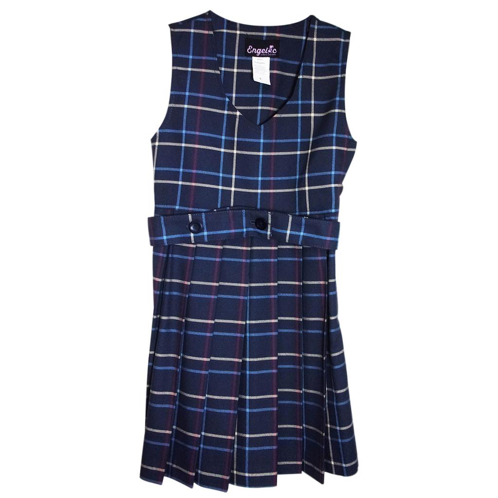 Girls School Uniform Scoop Neck Plaid Pleated Jumper w/Belt (Plaid BB )