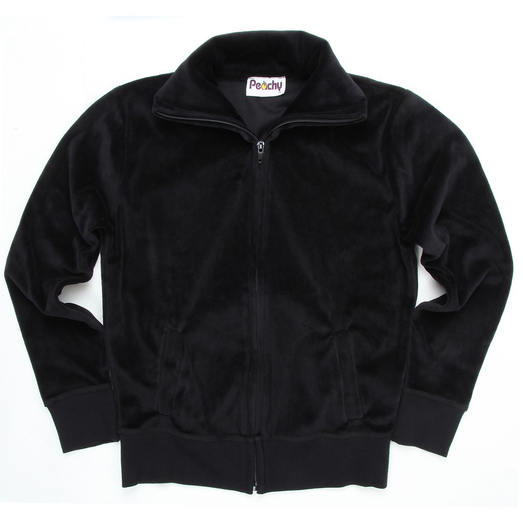 Black Velour Zip-Up With Collar & Side Pockets Machon LA