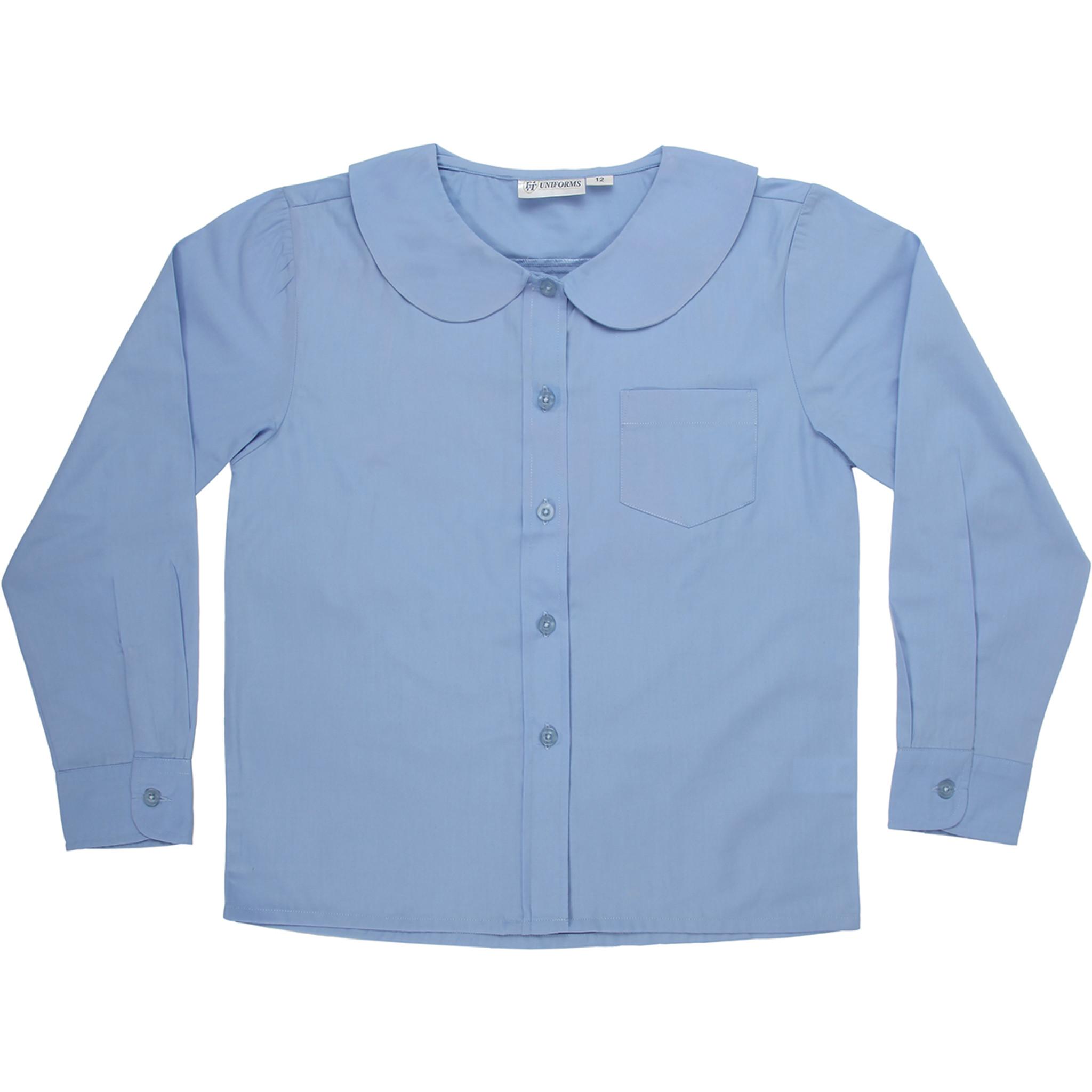 44502596b Girls Peter Pan Blouse Long Sleeve Color Blue - Engelic Uniforms
