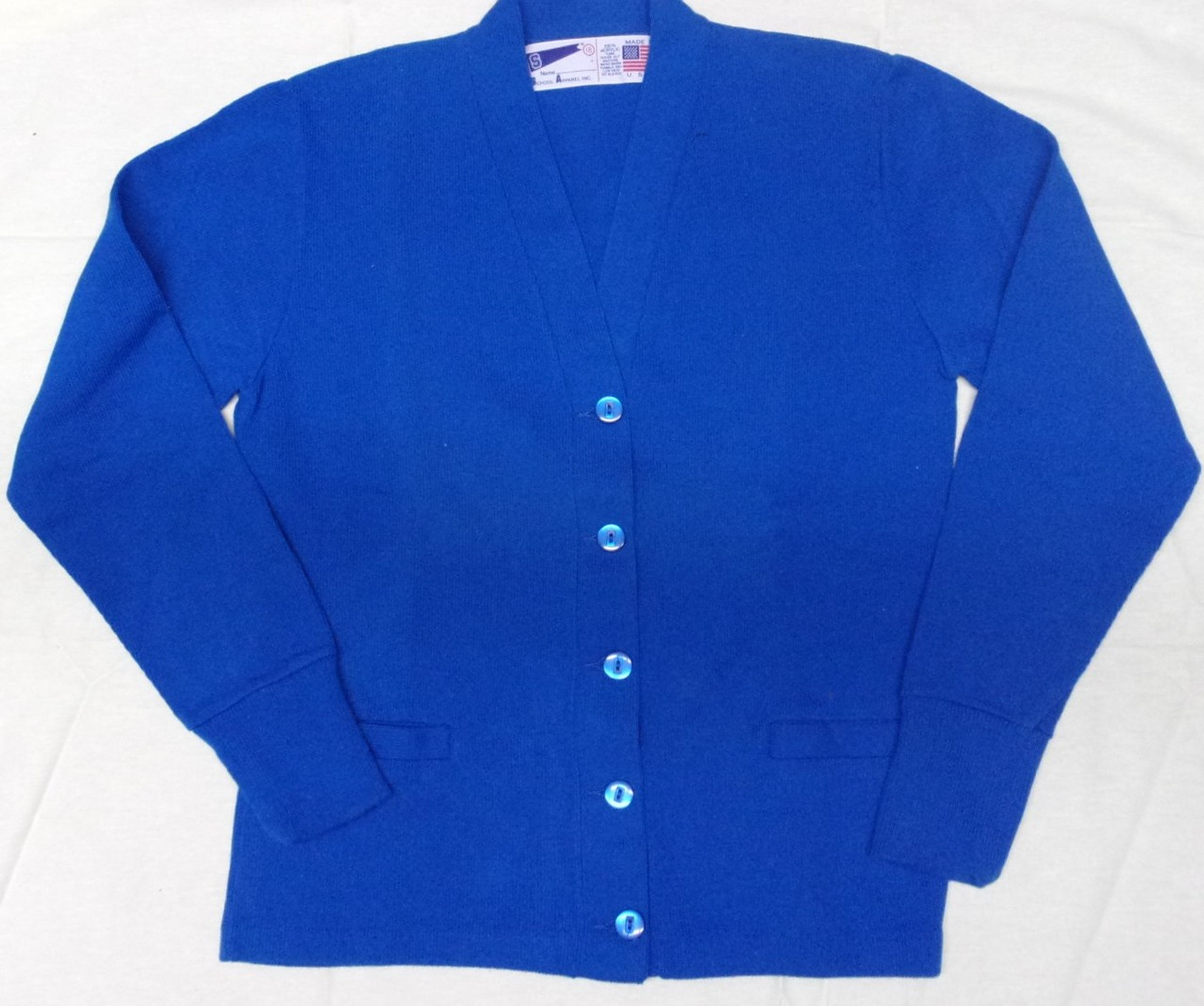 V-Neck Cardigan Sweater Royal Blue - Engelic Uniforms 38c5115b6