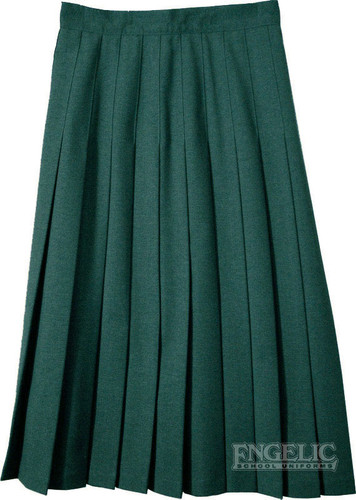 Junior Skirt Pleats Stitched  Down Polyester Color Green Long Length