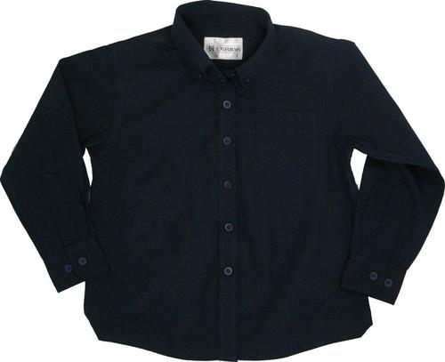 Girls Navy Broadcloth School Blouse Long Sleeve