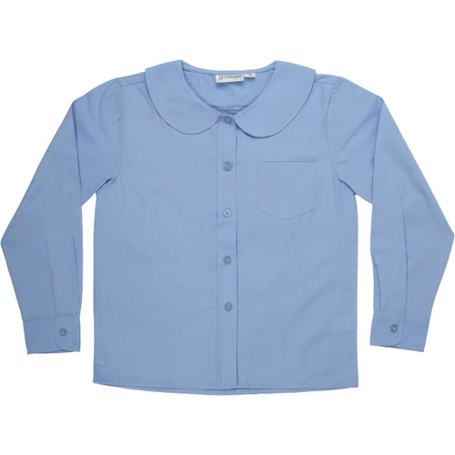 Girls Peter Pan Blouse Long Sleeve Color Blue