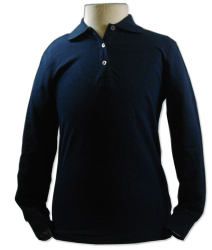 Peachy Black Knit Long Sleeve Polo