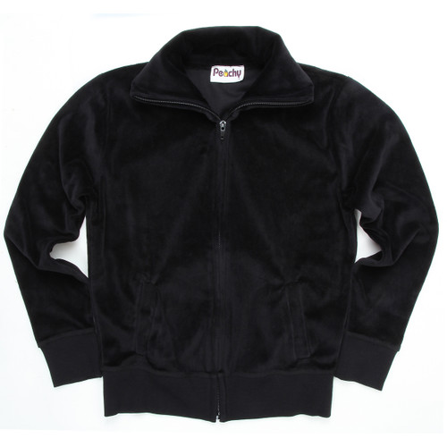 Black Velour Zip-Up With Collar & Side Pockets