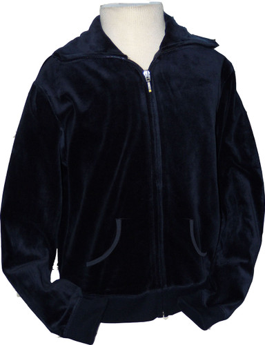 Velour Zip-Up With Collar & Kangaroo Pockets Navy