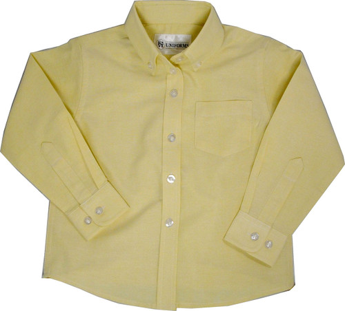 Girls Yellow Oxford School Blouse Long Sleeve