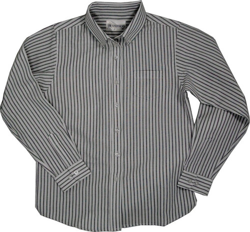 Girls Oxford Striped Multi Stripe Blouse White/Blue and Green