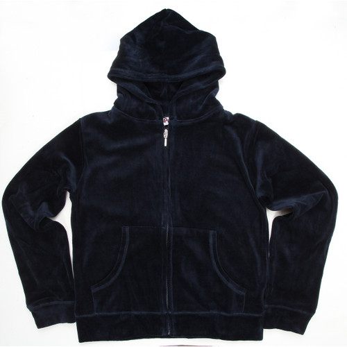 Navy Hooded Velour's Juniors